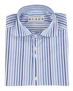 Scapa Blauw en wit gestreept hemd Communie