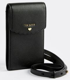 Ted Baker Zwart tasje in crossbody stijl met goudkleurige details op de voorzijde Siindy