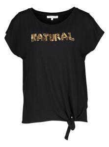Tramontana Zwarte geknoopte T-Shirt met tekst in pailletjes