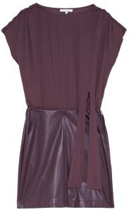 Patrizia Pepe Bordeaux jurk met rok gedeelte in lederlook