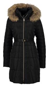Kocca Zwarte winterjas met imitatiebont aan kraag Ciret