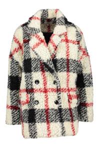 Kocca Wit/Zwart wollen, geruiten winterjas met rode strepen