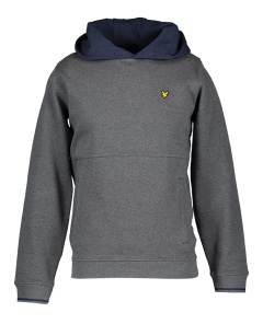Lyle & Scott Grijze sweater met blauwe kap