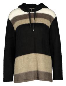 Vitamia Lounge Zwarte trui met grijs, bruine afwisseling en kap
