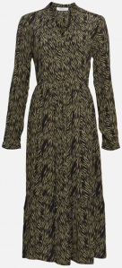 MSCH Zwarte lange jurk met groene zebra print Calie