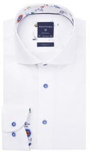 Profuomo Michaelis Wit gekleed hemd met blauwe knopen SLIM FIT PROFUOMO