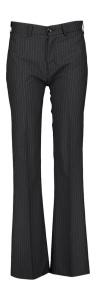 LOÏS Zwarte broek met fijne krijtstreep en wijde pijpen Sylvia