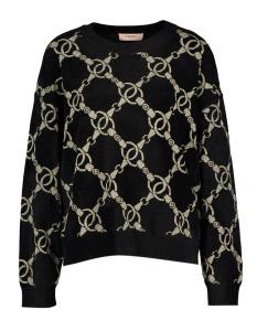 Twinset Zwartkleurige trui met goudkleurige details