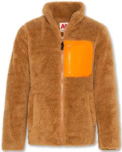 AO76  jas in teddystof met oranje borstzak