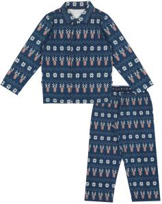 Claesen's Blauwe pyjama met rendiermotief