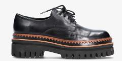 Elvio Zanon Zwarte veterschoenen met bruin zigzagdetail boven de zool