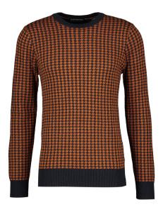 Scotch & Soda Oranje trui met donkerblauw patroon
