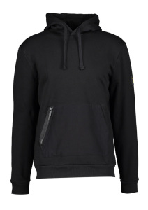 Lyle & Scott Zwarte sweater met kap en logo aan mouw