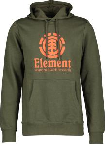 Element Groene sweater met kap en oranje logo op voorzijde