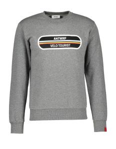 Antwrp Grijze sweater met fijn streepdetail