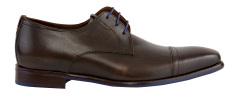 Floris Van Bommel  Donkerbruine geklede schoen met koningsblauwe veters Van Bommel