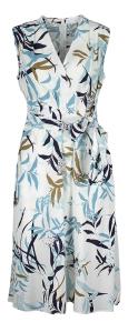Gerry Weber Witte mouwloze jurk met blauwe en kaki bloemenprint