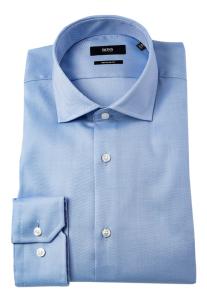 Hugo Boss  Lichtblauw hemd met fijn schuin streepjesmotief REGULAR FIT Boss