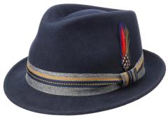 Stetson Blauwe outdoor hoed met waterafstotende eigenschappen en versierd met veren