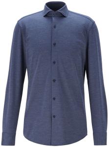 Hugo Boss  Blauw hemd met fijne structuur Slim Fit