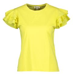 Dixie Gele t-shirt met volant aan de mouwen