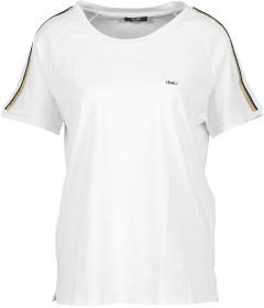Liu Jo Witte T-Shirt met zwarte en goudkleurige streep op de schouder