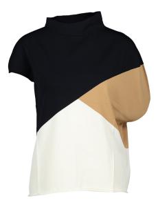 Liviana Conti Multi-color assymetrische trui met korte mouwen