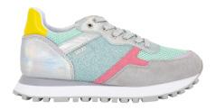 Liu Jo Grijze sneaker met groen, roze en zilver detail Wonder 1