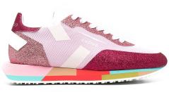 Ghoud Roze glitter sneaker met multicolor zool