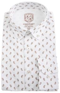 State of art Wit hemd met beige print MODERN FIT