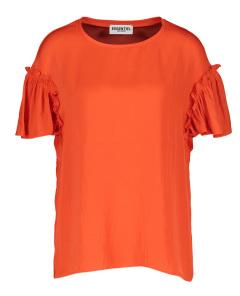 Essentiel Oranje rode blouse met ruffels aan de mouw Zivet