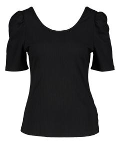 FRNCH Zwarte tshirt met streepmotief en pofmouw