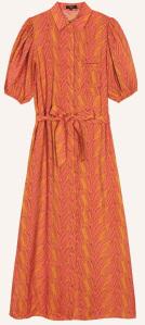 FRNCH Bruin, roze lange jurk met korte pofmouw en riem