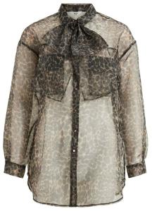 Object Doorzichtige blouse met dierenprint en strik