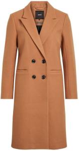 Object Cognac mantel met zwarte knopen Objlina Coat