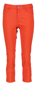 Oui Rode cropped broek Mid Waist Stretch