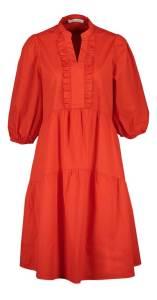 Oui Rode jurk met ruffeldetail en pofmouwen