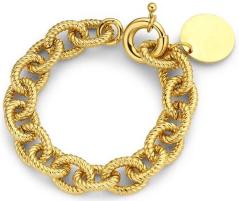 Souvenirs de pomme Gouden armband met gekartelde schakels Cha4 Andrea