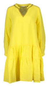 Angoor Gele linnen jurk Bina afgewerkt met pareltjes aan de hals