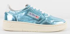 Autry Blauw glanzende sneaker met witte veters