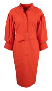 Natan edition 5 Rode lange jurk Oneal met elegante mouwen en brede tailleriem Natan