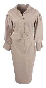 Natan edition 5 Beige jurk Oneal met elegante mouwen en brede tailleriem Natan