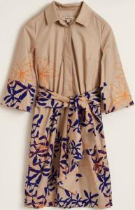 Natan edition 5 Beige kleed met paarse/ oranje bloemen print Oreba Natan
