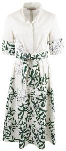 Natan edition 5 Beige kleed met groene print en lint OVAL Natan