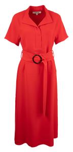 Natan edition 5 Rode lange jurk Olilo met brede tailleriem Natan