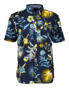 Vans Blauw hemd met bloemenprint en korte mouwen