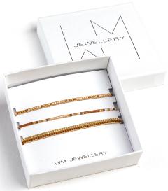 WM Jewellery Set van drie armbanden met bruin/gouden/rosé pareltjes