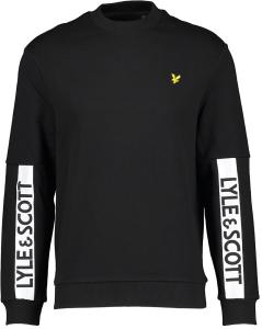 Lyle & Scott Zwarte sweater met wit logo op de mouwen