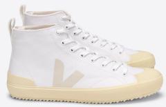 Veja Hoge katoenen sneakers met beige zool
