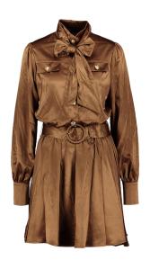 Dream Catcher Bruine glanzende jurk met gouden knopen en lint Dreamcatcher